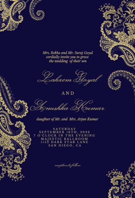 Elegant Henna Wedding Invitation