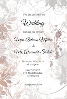 Fl Swirls Wedding Invitation