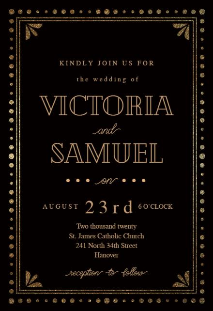 gold black wedding invitation