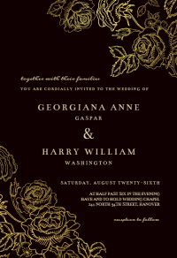Gold Foil Roses - Wedding Invitation Template (free ...