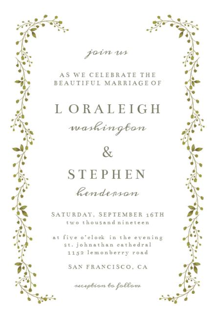 Green Leaf Border Wedding Invitation Template Free
