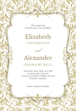 Tasteful Tapestry Frame Wedding Invitation Template
