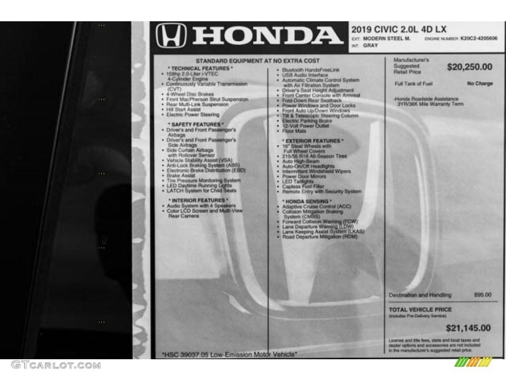 medium resolution of 2019 honda civic lx sedan window sticker photo 131067581