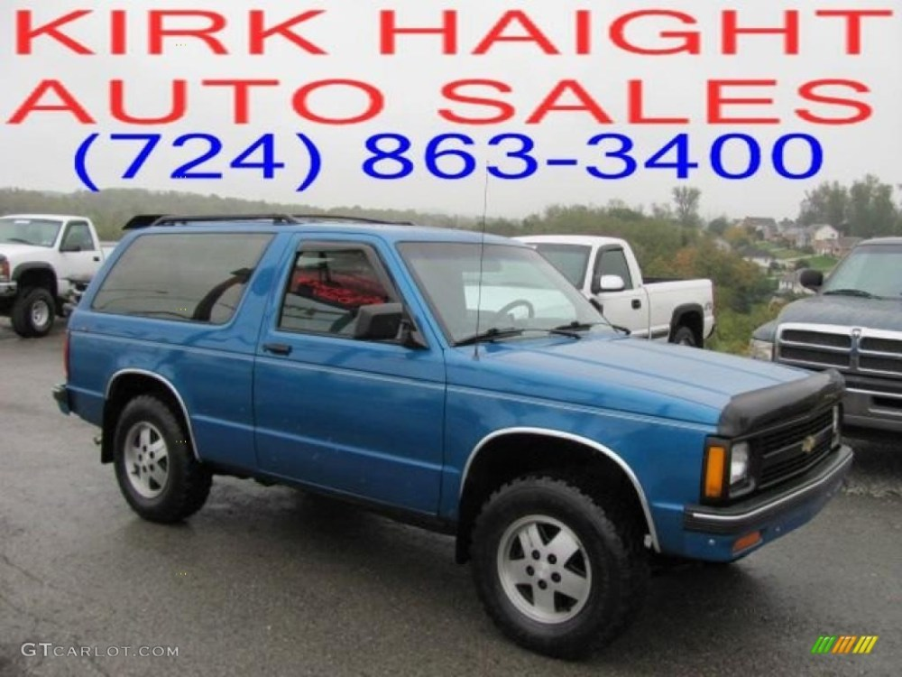 medium resolution of bright blue metallic chevrolet s10 blazer
