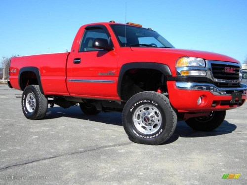 small resolution of fire red 2004 gmc sierra 2500hd sle regular cab 4x4 exterior photo 40637454