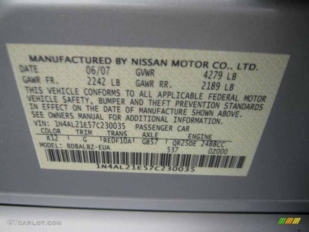 2007 Nissan Altima Metallic