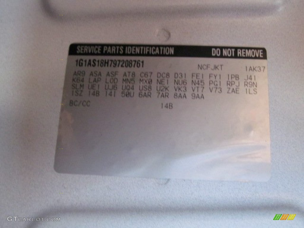 2009 Cobalt Color Code 14B For Summit White Photo