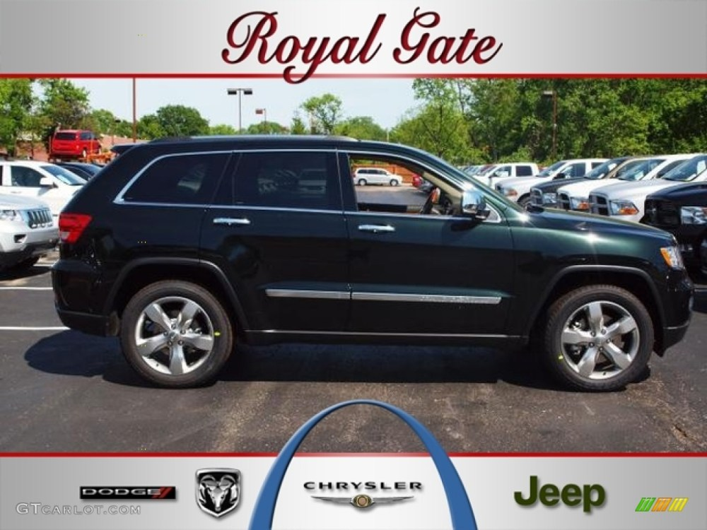 medium resolution of 2012 black forest green pearl jeep grand cherokee overland 4x4 64100278