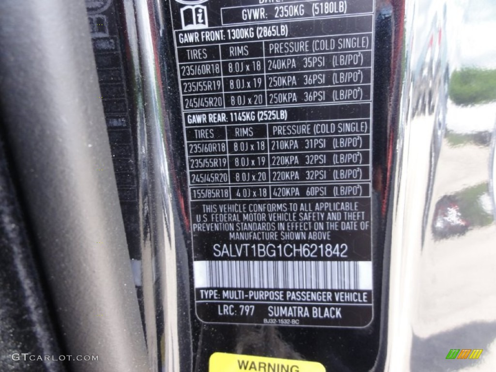 2012 Range Rover Evoque Color Code 797 For Sumatra Black