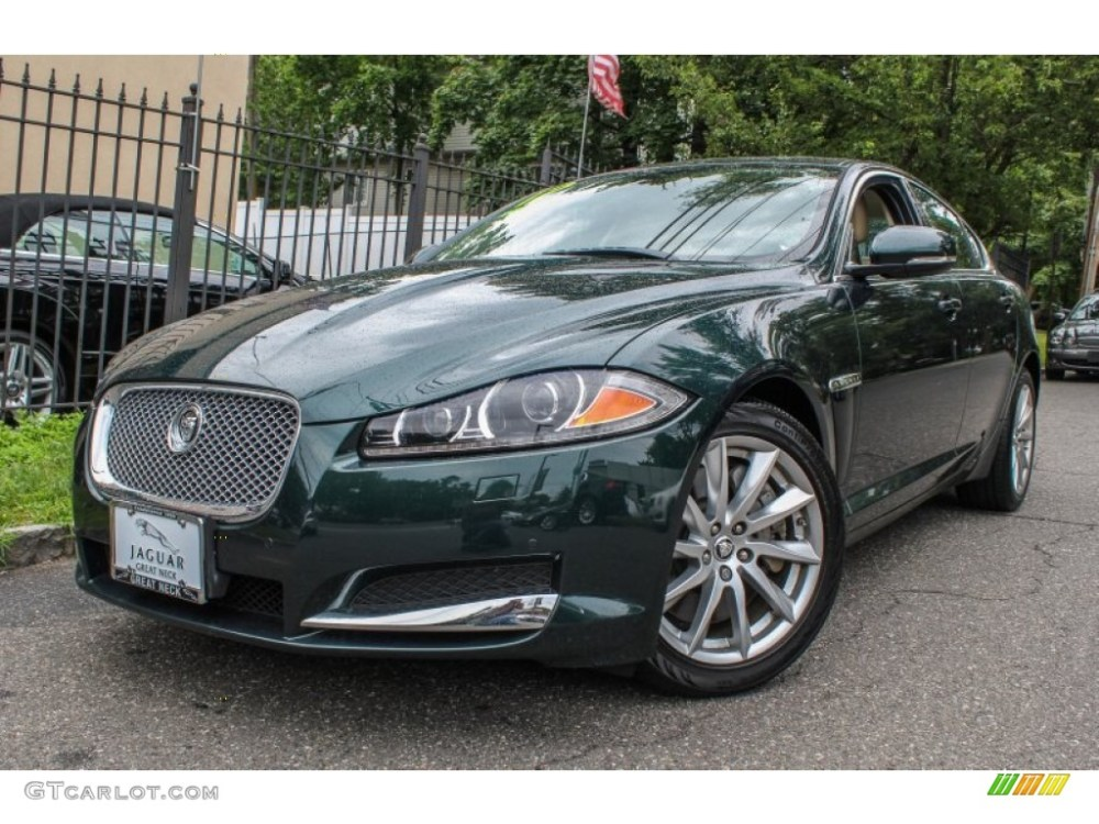 medium resolution of british racing green metallic jaguar xf