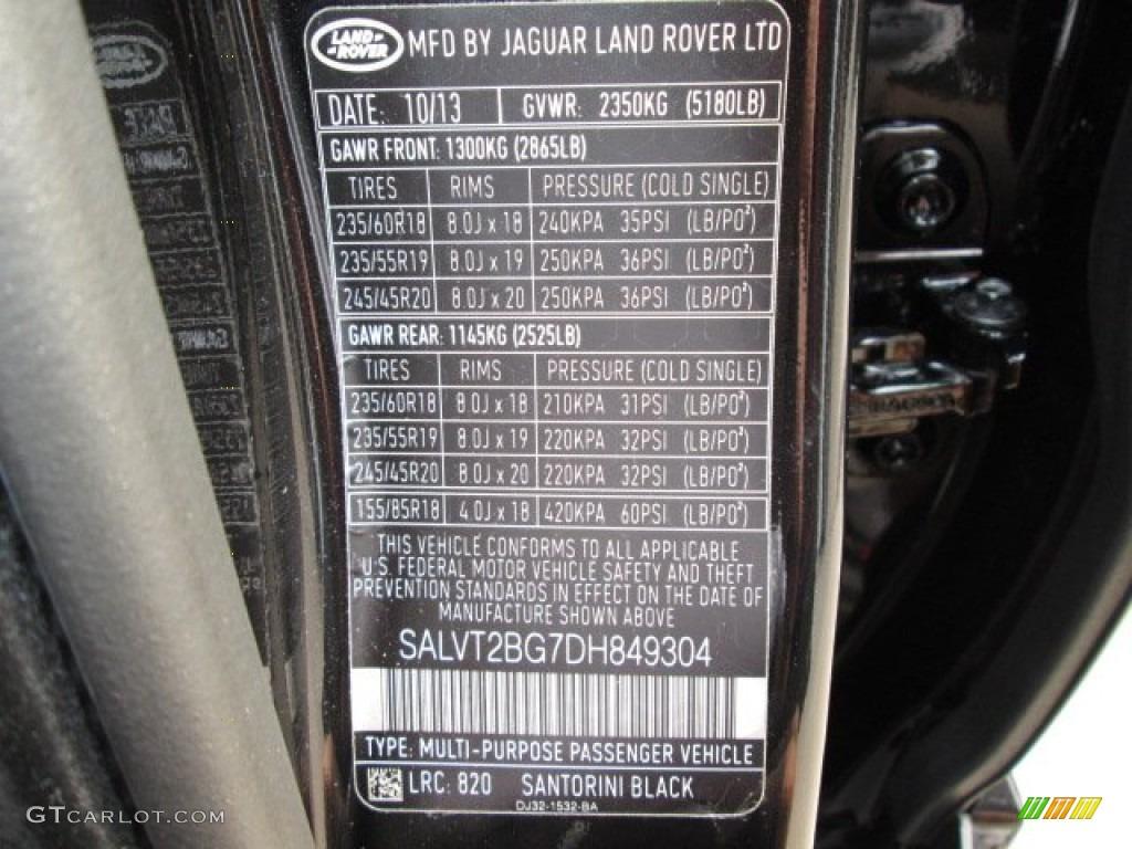 2013 Land Rover Range Rover Evoque Dynamic Color Code