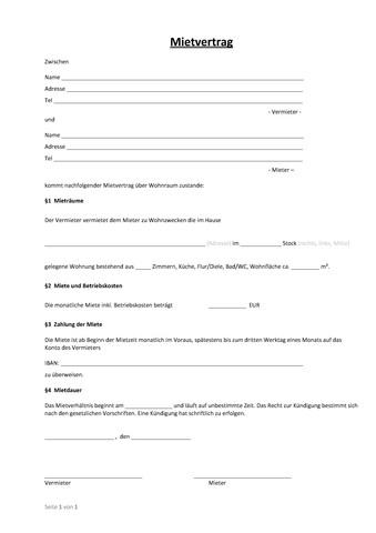 Einfacher Mietvertrag wo Wohnung Steuern Vertrag