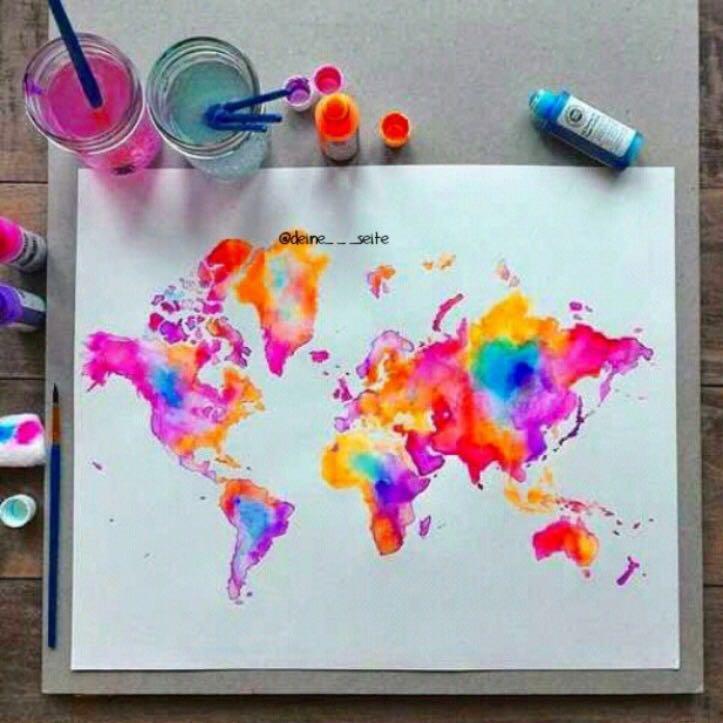 Bunte Weltkarte wie selber basteln
