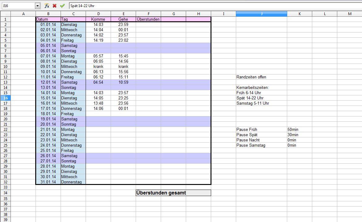 ExcellFormel berstunden Excel Tabelle zeitkonto