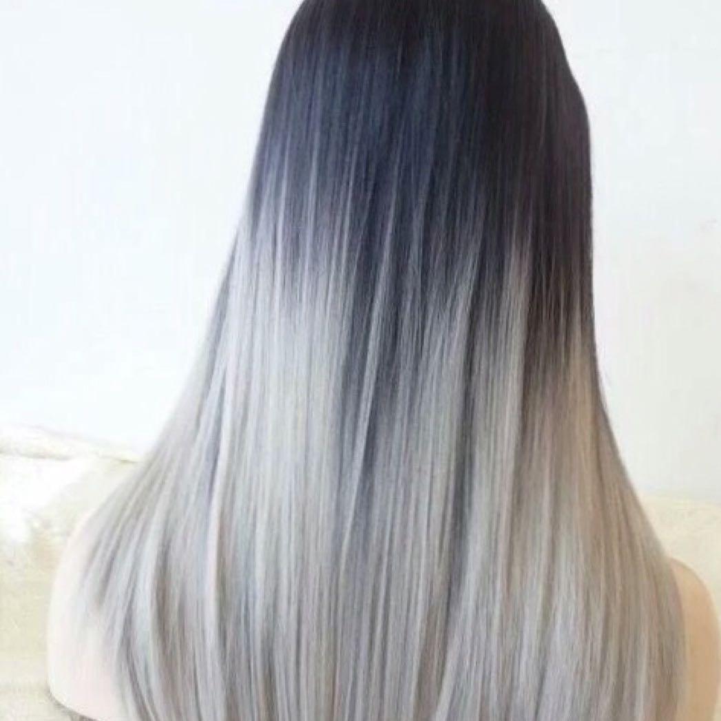 Haare Von Dunkelbraun Auf GrauSilber Braun