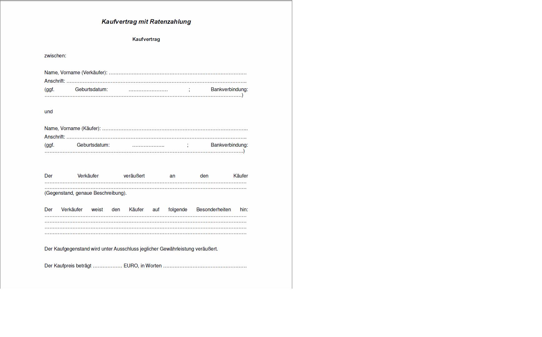 Muster Kaufvertrag Küche Ratenzahlung 7 43 Wochenplan Vorlagen