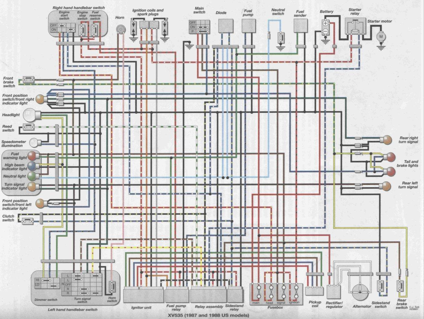 virago 250 wiring diagram ge shunt trip circuit breaker ruhestrom bei yamaha xv 535 motorrad elektrik