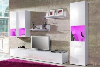 Welche Wandfarbe bei weier Wohnwand und weien Sofa  Haus Wohnung Ideen
