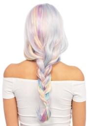 pastel rainbow wavy wig women