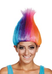 rainbow colored troll wig adults