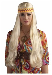 blonde hippie chick wig with headband