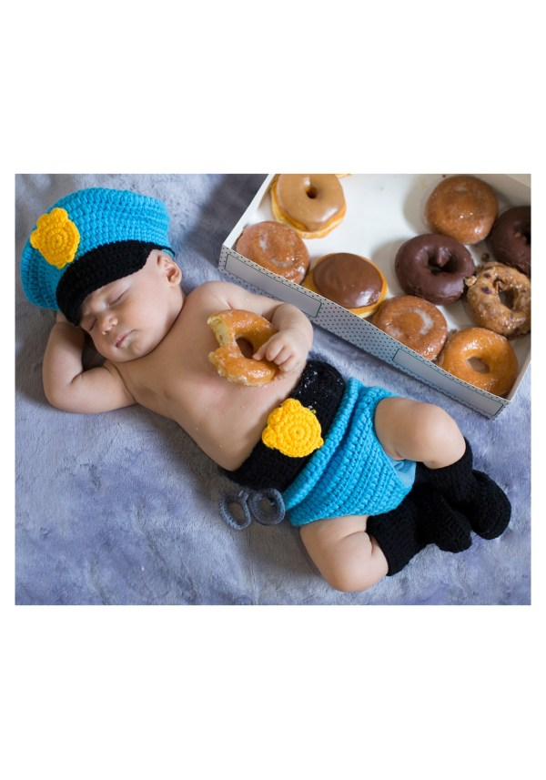 Police Officer Newborn Hat And Diaper Cover