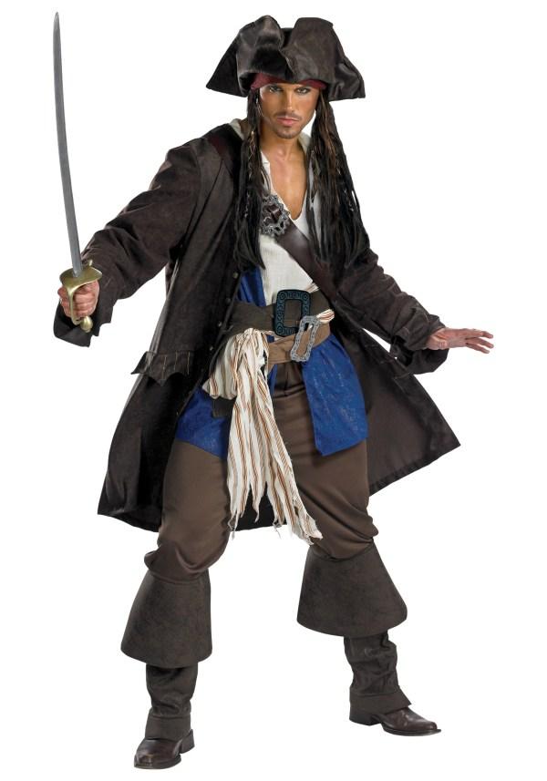 Mens Pirates Of Caribbean Captain Jack Sparrow Prestige Adult Costume