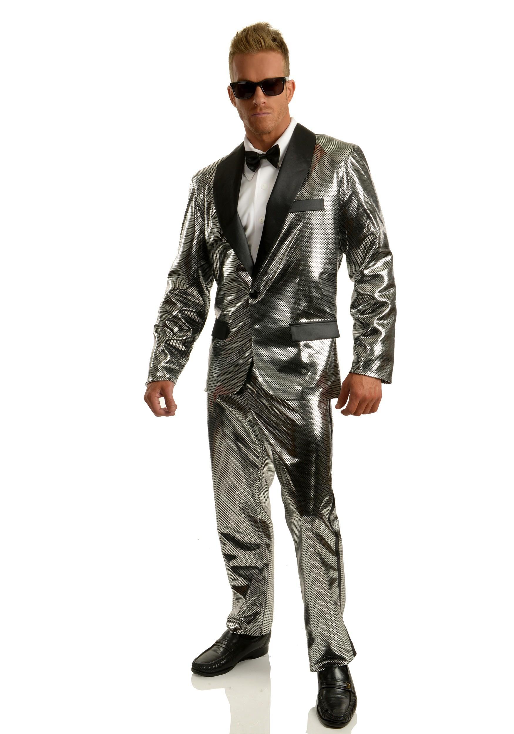 Mens Silver Disco Ball Tuxedo Costume