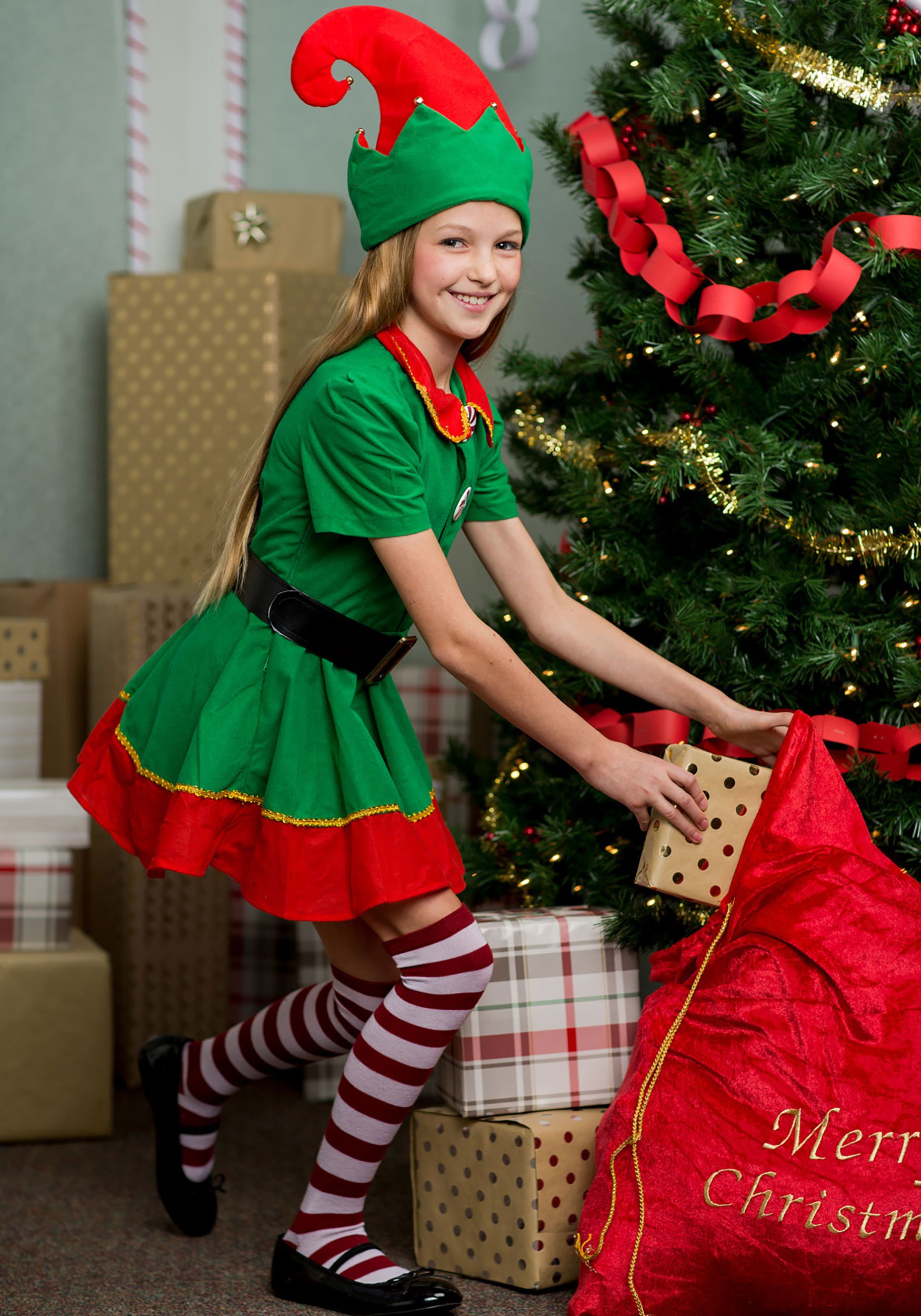 Girls Holiday Elf Costume