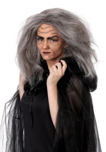 Ladies Witch Crudelia Wig Long Black White Grey Witch Old Lady Creepy