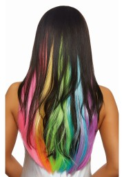 3-piece long wavy neon rainbow