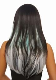 3-piece ombre aqua grey long straight