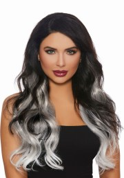 3-piece long straight ombre grey white
