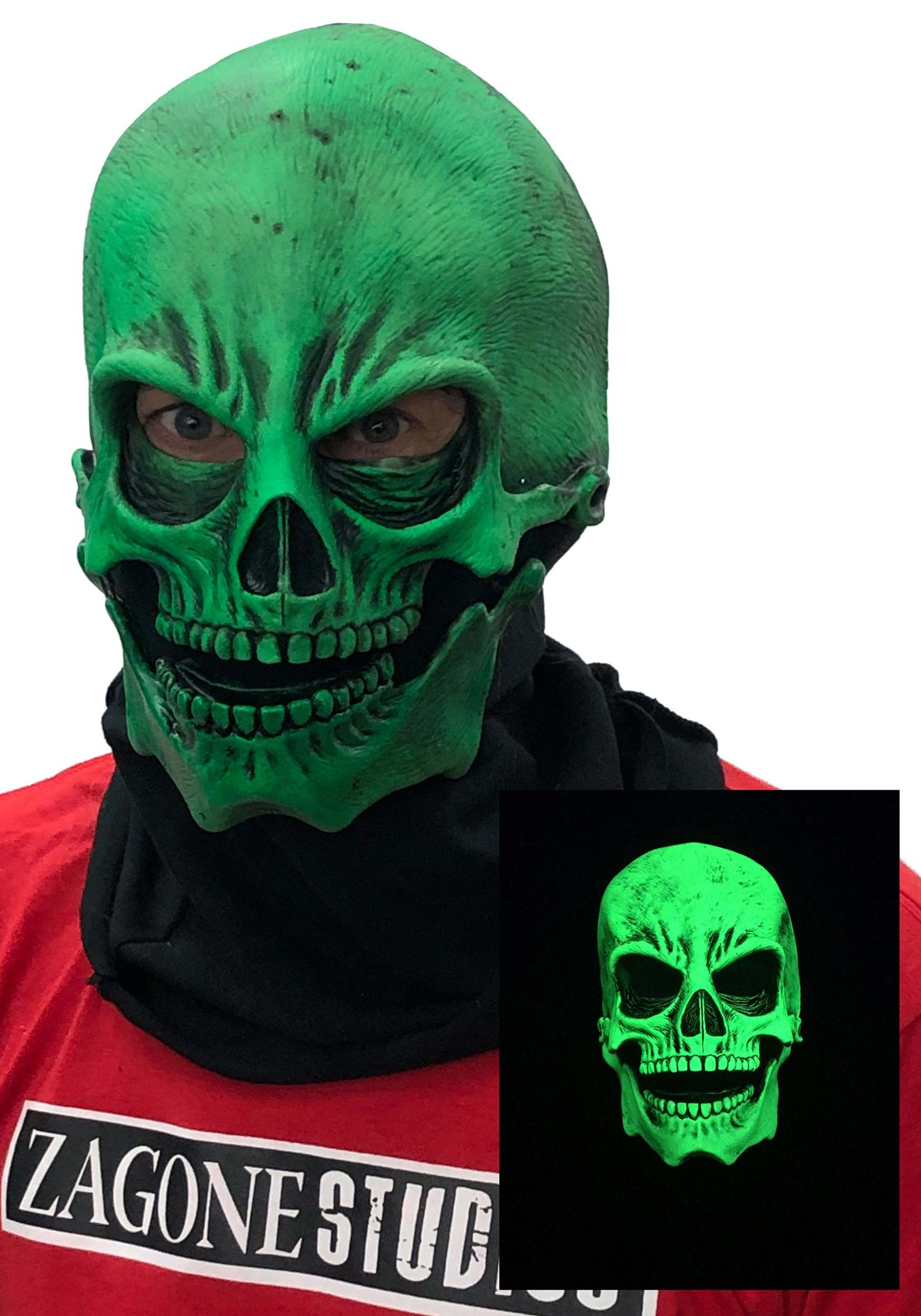 Uv Green Glow Skull Mask For Adults
