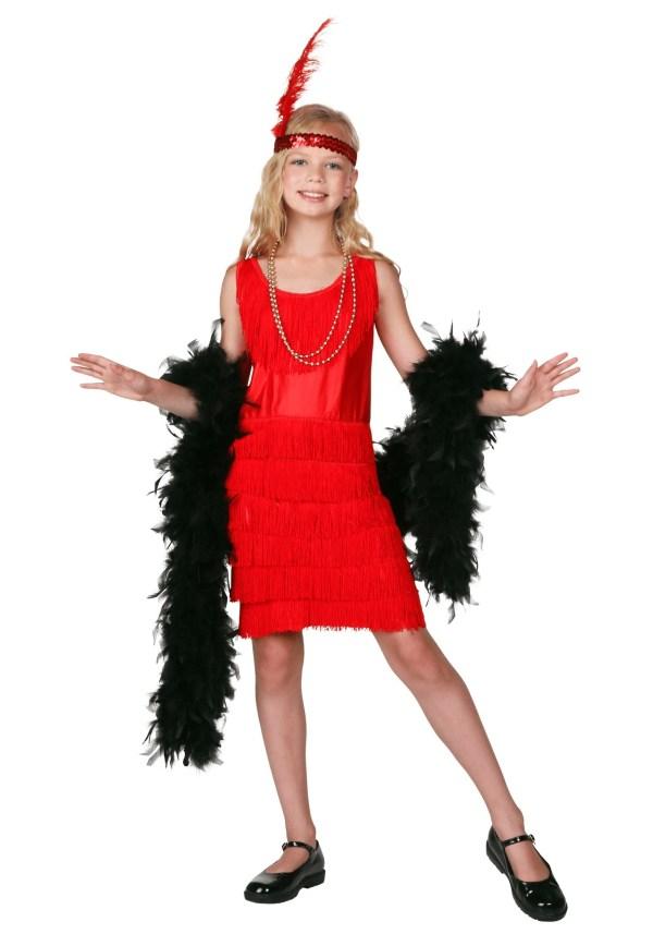 Child Red Fringe Flapper Costume