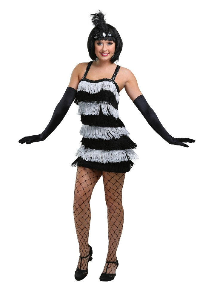 Women's Fringed Silver Flapper Costume