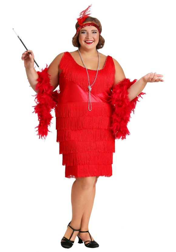 Women's Red Plus Size Flapper Costume
