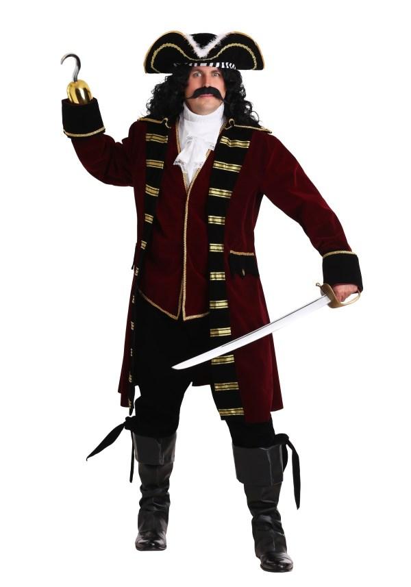 Plus Size Deluxe Captain Hook Costume 2X 3X 4X 5X 6X
