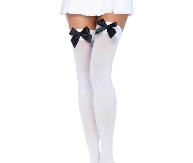 White Stockings With Black Bows Jpg