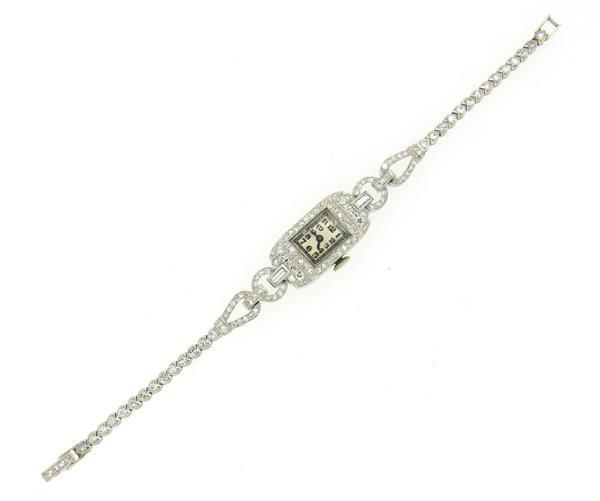 Art Deco Movado 1930s Platinum Diamond Lady's Watch Bracelet