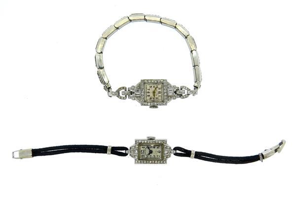 Hamilton Lady Elgin Platinum Diamond Ladies Watch Lot of 2