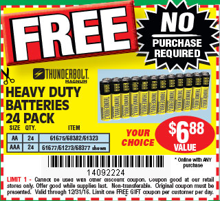 Harbor Freight Free Thunderbolt Aa Or Aaa Batteries 24 Pack No
