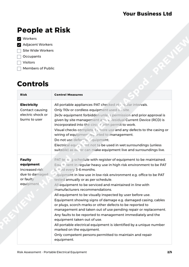 Portable Electrical Equipment Risk Assessment Template