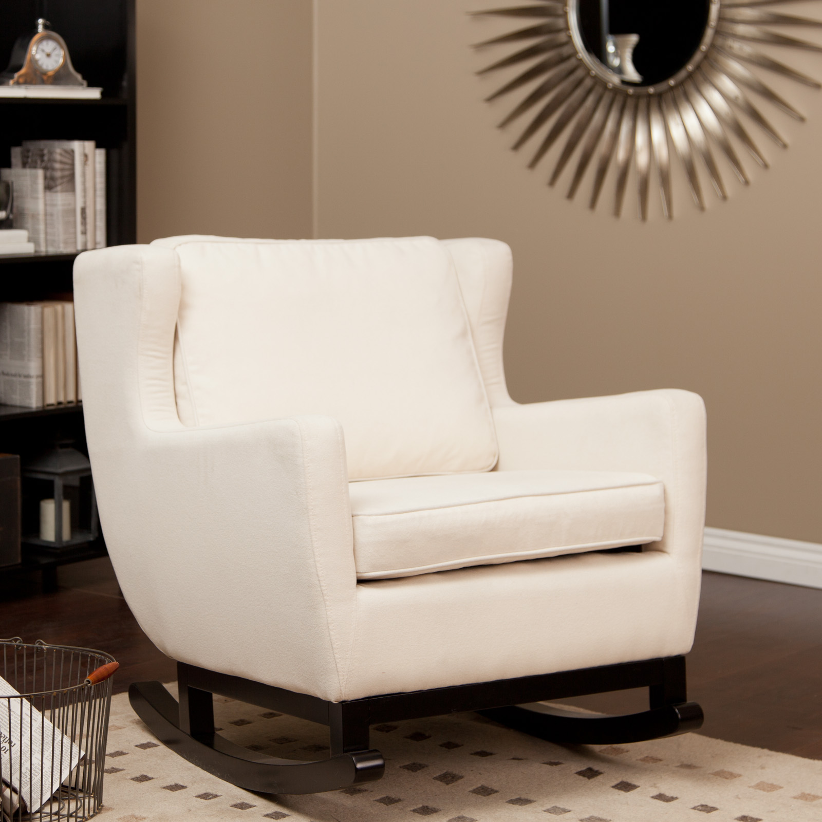 Belham Living Upholstered Rocking Chair  Cream at Hayneedle