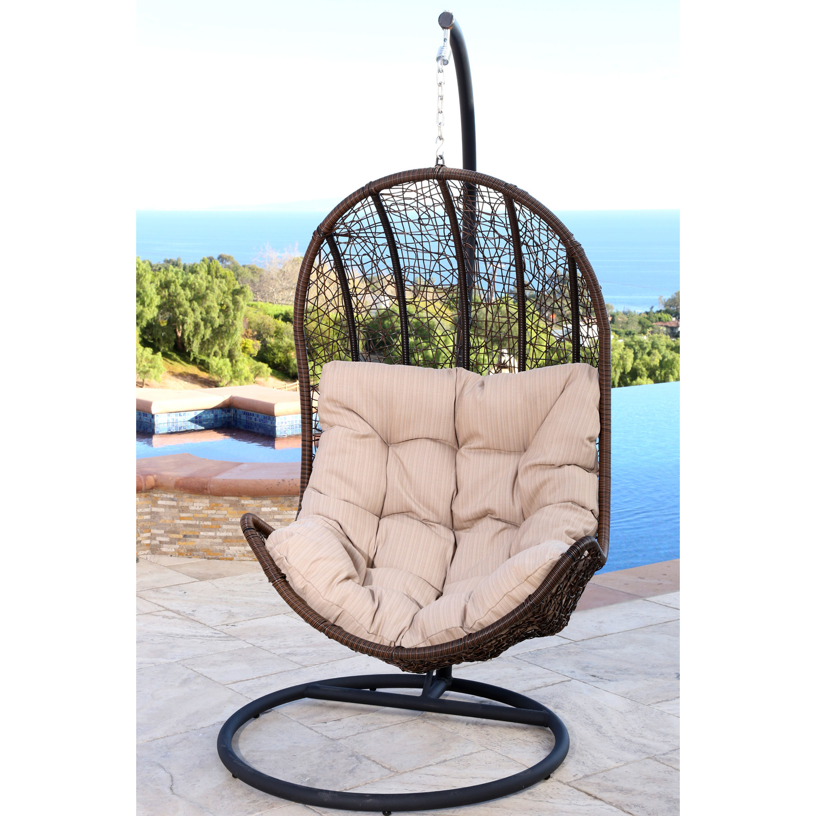 Egg Shaped Chairs Abbyson Living Cate Outdoor Wicker Egg Shaped Swing Chair
