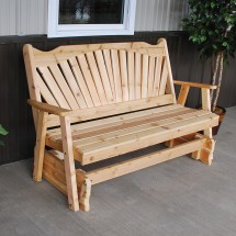 & L Furniture Western Red Cedar Fanback Outdoor Loveseat