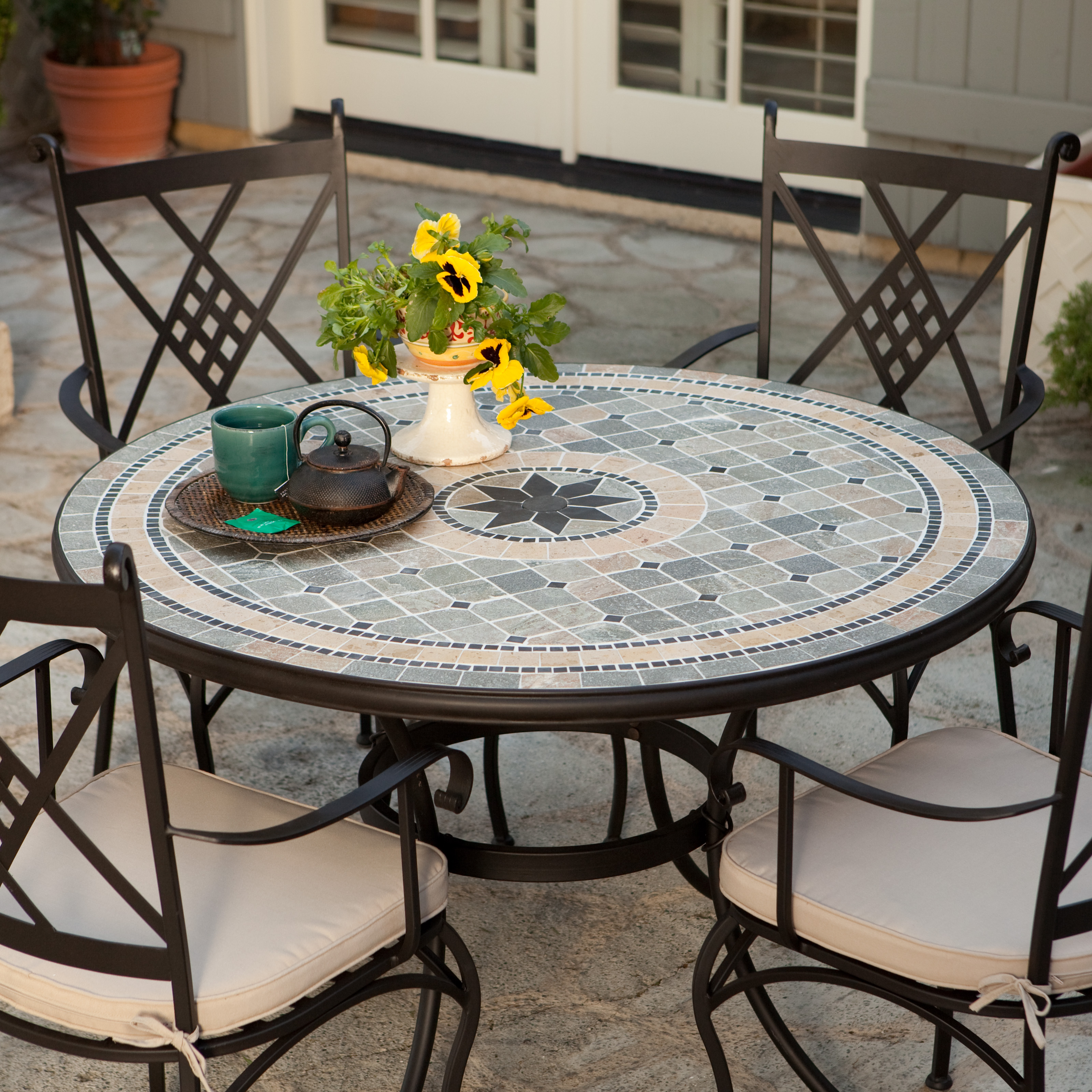 Belham Living Barcelona 48 in. Round Mosaic Patio Dining