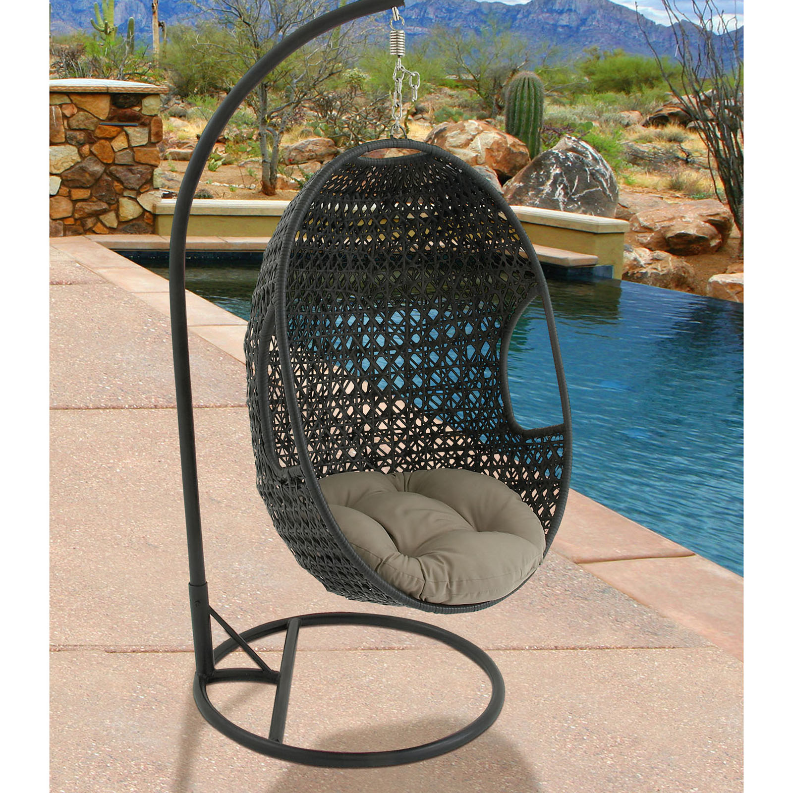 Pod Swing Chair Hanover Hanging Wicker Pod Swing With Seat Cushion