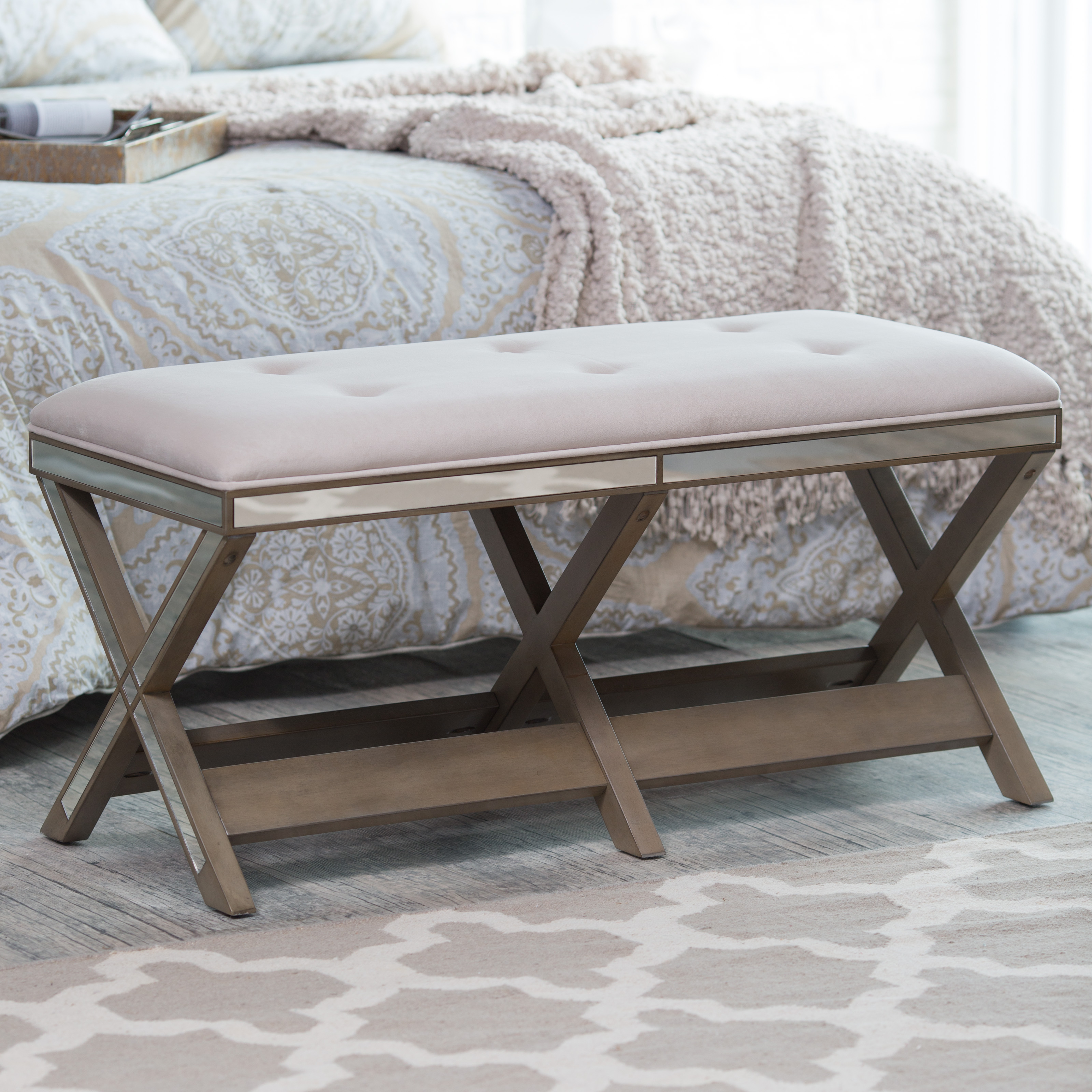 chair bed stool covers for sale australia belham living cushioned indoor bench with mirrored frame