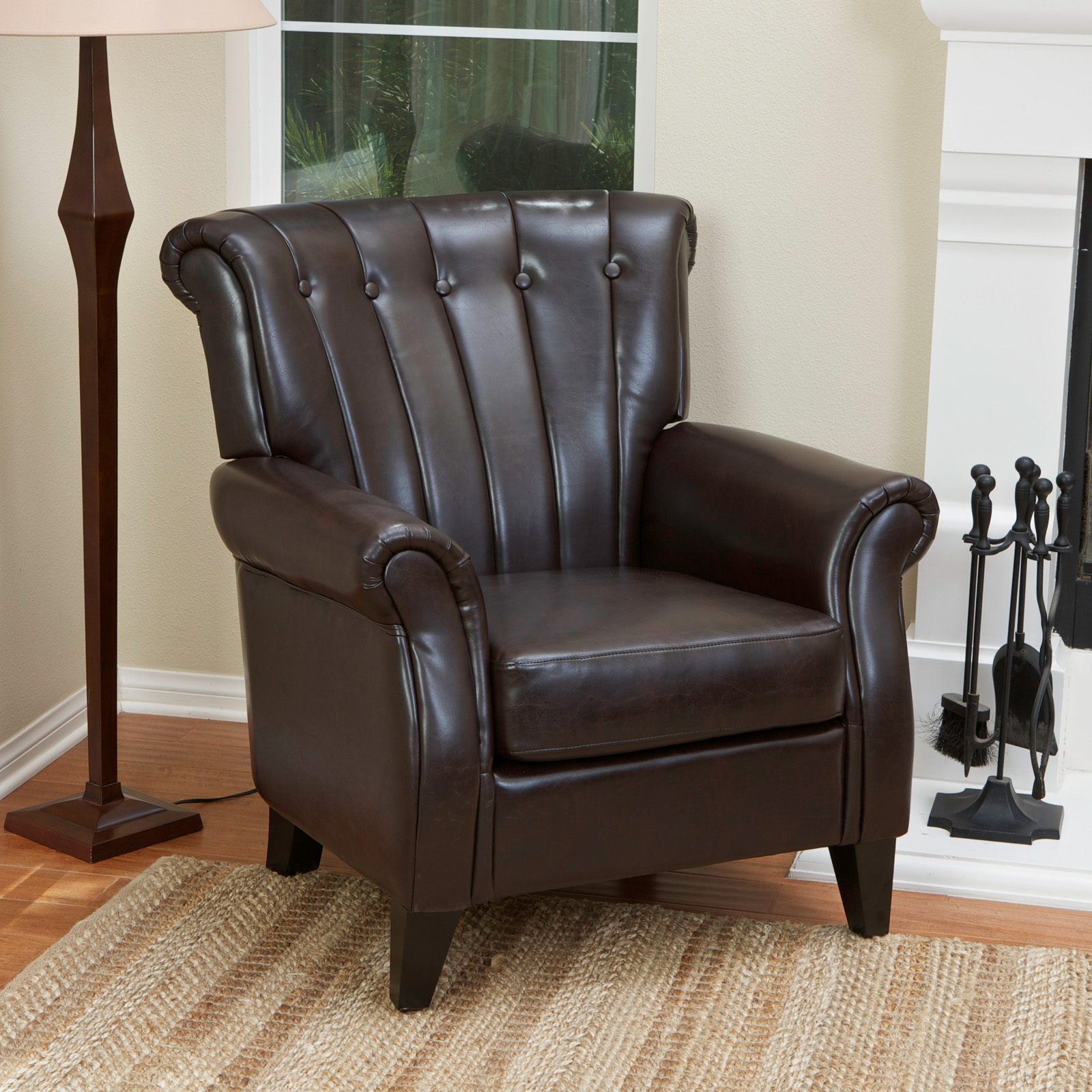Leather Club Chair Clifford Channel Tufted Leather Club Chair Brown